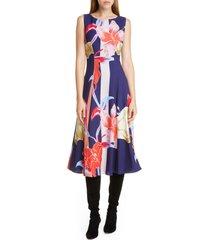 women's etro large lily print crepe midi dress