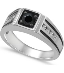 men's black & white diamond (1 ct. t.w.) ring in 10k white gold