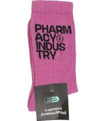 pharmacy industry woman fuchsia socks with black logo