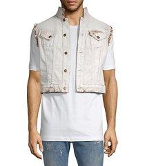 cropped fringe denim vest