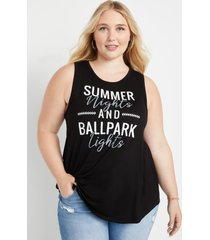 maurices plus size womens black summer nights graphic tank top