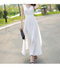 pf253 sexy deep v sleeveless chiffon swing dress  size s-xl, white
