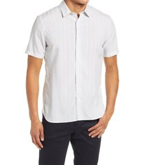 men's vince slim fit variegated stripe short sleeve button-up shirt, size small - grey