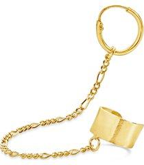 women's sterling forever figaro chain linked huggie hoop & cuff single earring