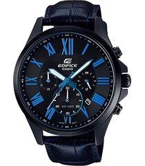 reloj casio efv-500bl-1bv  cuero hombre