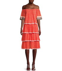 pitusa women's petite off-the-shoulder tiered dress - strawberry - size petite (xxs-xs-s)