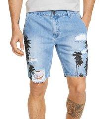 inc men's ripped palm print denim shorts, created for macy's