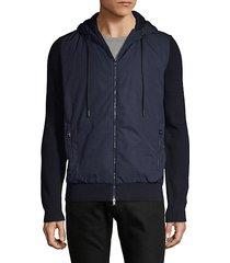 fanello mixed media hooded jacket