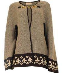 poncho capa algodão feminina estampada sem capuz casual - feminino