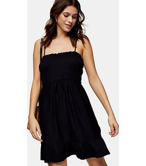 black shirred flippy mini dress - black