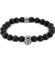 northskull designer men's bracelets, lavastone & perforated silver skull charm bracelet