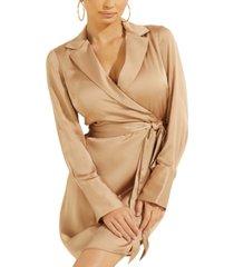 guess eden collared wrap dress
