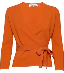 landon stickad tröja cardigan orange diane von furstenberg