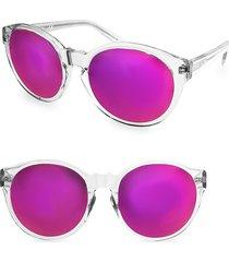 aqs women's daisy 53mm round sunglasses - white