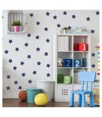 adesivo de parede infantil estrelas azul marinho 54un
