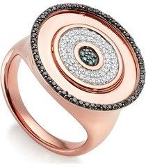 rose gold evil eye disc cocktail ring black blue and white diamonds