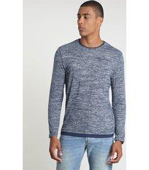 suéter masculina em tricô gola careca azul escuro