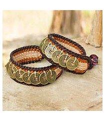 beaded wristband bracelets, 'coins of earth' (pair) (thailand)