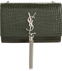 saint laurent small kate croc embossed leather shoulder bag - green