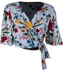 blusa kimono linda d+ floral verde claro