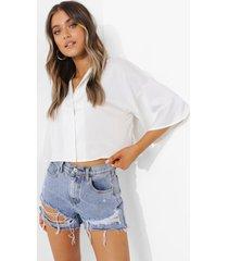 korte oversized satijnen blouse, white