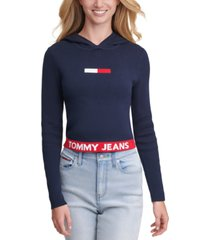 tommy jeans cotton logo graphic hooded sweater