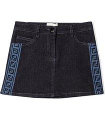 fendi blue stretch cotton denim skirt