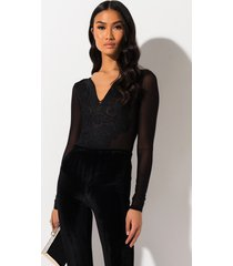 akira plunging lace embroidered mesh bodysuit