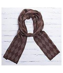 men's alpaca blend scarf, 'diamond brown' (peru)