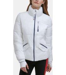 tommy hilfiger sport thumbhole-cuff puffer jacket