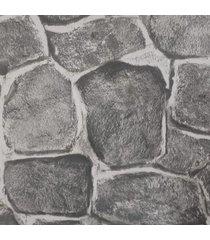 kit 3 rolos de papel de parede lavã¡vel pedras cinza rãºstica 3d fwb - unico - dafiti