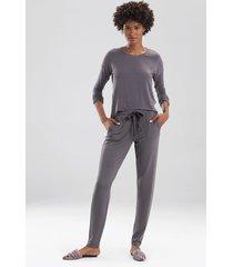 natori cozy top pajamas, women's, brown, size xs natori