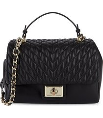 karl lagerfeld paris women's agyness top handle satchel - black gold