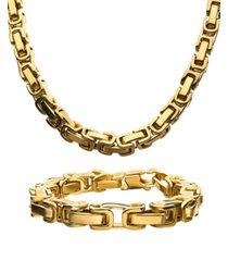 "inox byzantine chain 8"" bracelet and 22"" necklace set"