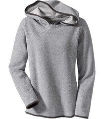 biokatoenen fleece pullover met capuchon, grijs/antraciet 36/38