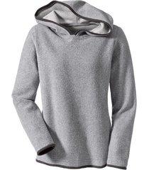 biokatoenen fleece pullover met capuchon, grijs/antraciet 36