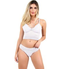 conjunto imi lingerie sem bojo cropped em renda stefanie branco - branco - feminino - renda - dafiti