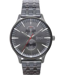 orologio multifunzione portland con cinturino e cassa in acciaio grigio per uomo