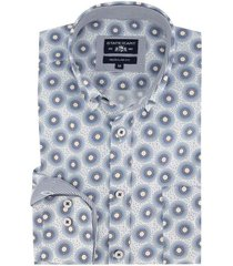 state of art overhemd regular fit blauw wit dessin