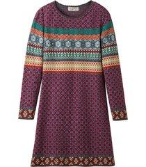 jacquard-jurk met lange mouwen van bio-katoen, rood-motief 44/46
