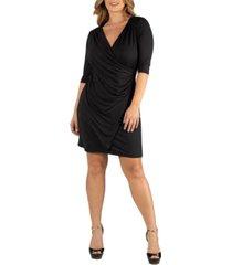 24seven comfort apparel womens elbow sleeve little black plus size wrap dress