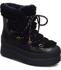 courtney 60mm shearling boot shoes boots ankle boots ankle boots flat heel svart tory burch