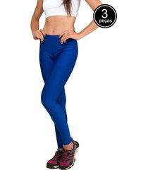 kit com 3 calças legging part.b básica suplex azul