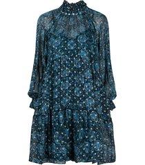 sea lurex-threaded tiered dress - blue