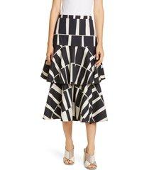 women's johanna ortiz print cotton poplin tiered midi skirt