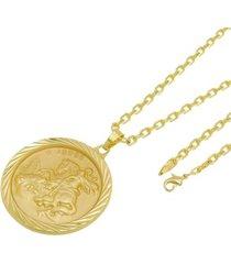 kit medalha são jorge com corrente tudo jóias cartier diamantada folheado a ouro 18k