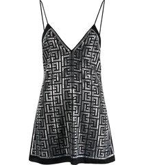 balmain crystal-embellished vest top - black