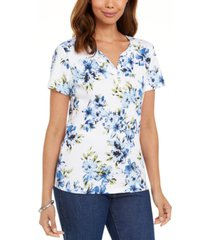 karen scott floral-print henley t-shirt, created for macy's