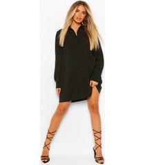 blouse jurk met knopen en lange mouwen, black
