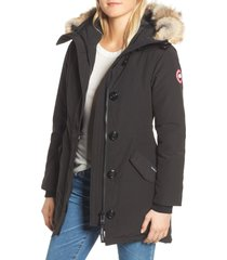 women's canada goose rossclair fusion fit genuine coyote fur trim down parka, size x-small - black